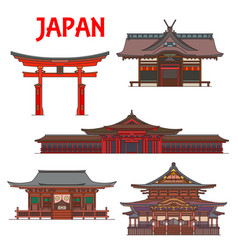 japanese temples pagodas and shrines japan tokyo vector image