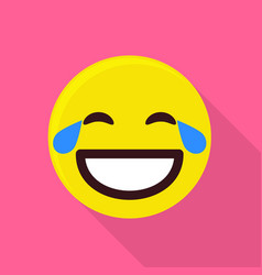 laughing emoticon icon flat style vector image