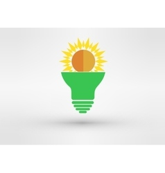 Light green bulb with sun vector image