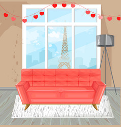 living room red sofa watercolor couch and vector image