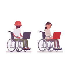 male and female young wheelchair user working with vector image