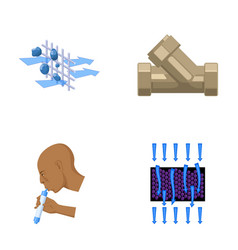 Man bald head hand water filtration system set vector