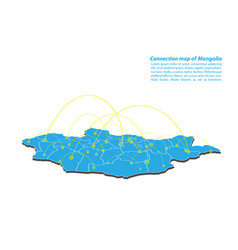 Modern of mongolia map connections network design vector
