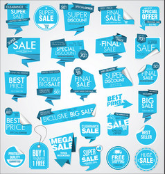 modern sale banners and labels blue collection vector image