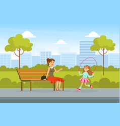 mother and daughter walking together in summer vector image