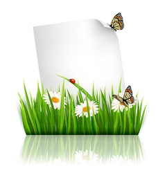 Nature background with grass and a paper vector