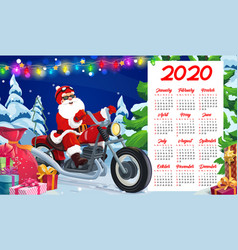 New year calendar santa xmas gifts motorcycle vector