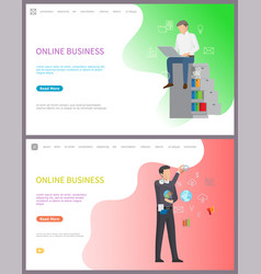 online business workers performing tasks at work vector image