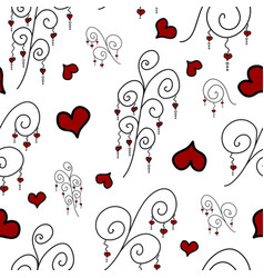 pattern with doodle branches and hearts vector image
