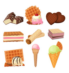 pictures set of vaffel dessert with cream vector image