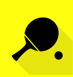 ping pong paddle with ball black icon with flat vector image