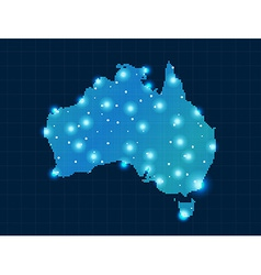 pixel Australia map with spot lights vector image