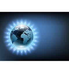 planet earth in the blue flame of a gas burner vector image