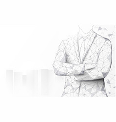 portrait businessman in suit keeping arms crossed vector image