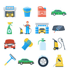 Professional carwash object colorful set vector