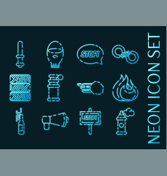 protest set icons blue glowing neon style vector image