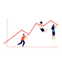 pushing upward graph work results increase vector image