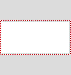 Rectangle candy cane frame with red and white vector