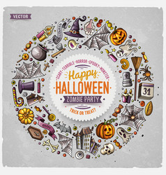 round frame halloween cartoon objects symbols vector image