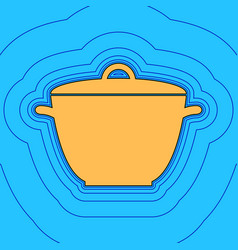 saucepan simple sign sand color icon with vector image