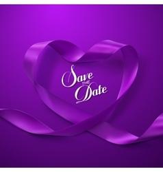 Save date purple ribbon heart vector