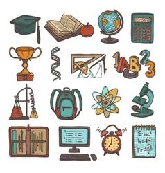 School education sketch icons vector