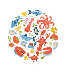 seafood icons set in round circle flat style sea vector image