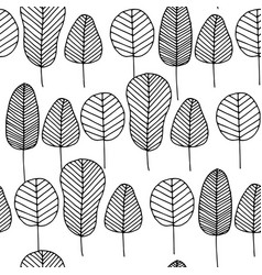 seamless pattern with colorless skeleton leaves vector image