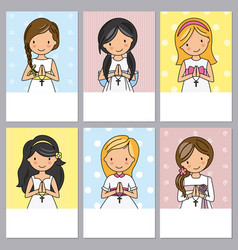 Set 6 first communion girl cards vector