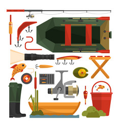 set fishing equipment icons in flat vector image