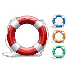 Set life buoys on white background vector