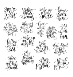 Set of handwritten positive inspirational quotes vector