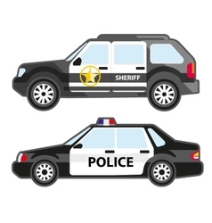 Set of police automobiles Urban patrol vehicle vector