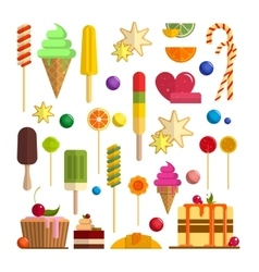 set of sweet food icons in flat style vector image