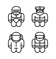 Set of toy Astronaut Robot Soldier Policeman vector