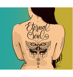 Sexy woman with beautiful butterfly tattoo on back vector