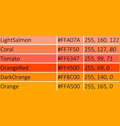 shades of orange vector image