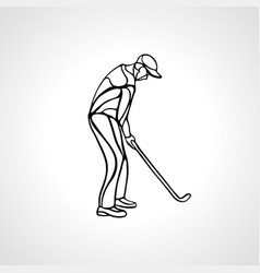 silhouette of golf player outline side view vector image