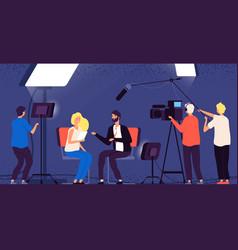 studio interview host journalist tv broadcasting vector image