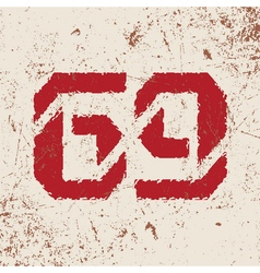 T shirt typography graphic with red number grunge vector