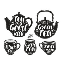 tea label set teapot cup hot drink icon or vector image