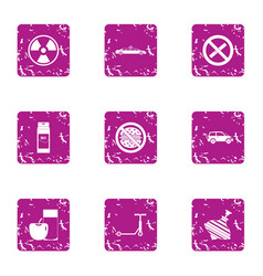 Threat to life icons set grunge style vector