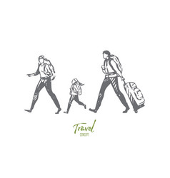 travel on foot concept sketch isolated vector image