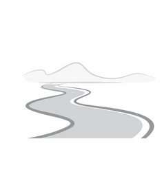 Twisting road to mountains vector
