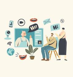 video communication chatting via internet vector image