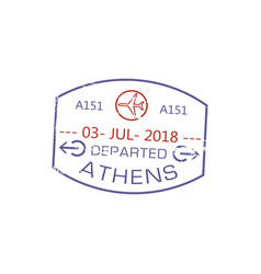 visa stamp departed from athens isolated post sign vector image