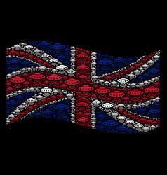 Waving great britain flag pattern alien vector