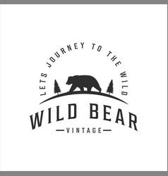 Wild bear logo vintage template icon design vector