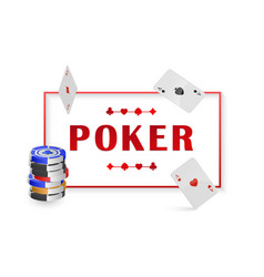 with chip and cards for poker vector image