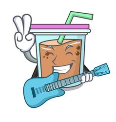 With guitar bubble tea mascot cartoon vector
